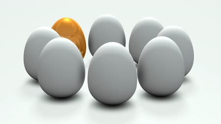 competence : Footage representing golden eggs. It stands out among multiple candidates. 3D rendering