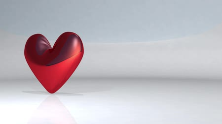 fixní : A heart shape that rotates while mirror reflection. 3D rendering