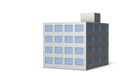 miniatűr : A simple architectural model building. White background. 3D rendering. Loop video. Stock mozgókép
