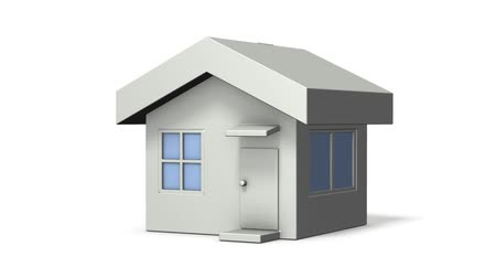 miniatűr : A simple architectural model house. White background. 3D rendering. Loop video.