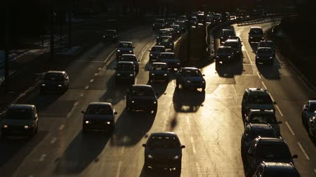 busiest : Sofia, Bulgaria - February 17, 2015: People are traveling by cars at rush hour at one of the busiest boulevard in Sofia. Bulgarias capital has the most polluted air in the EU. Stock Footage