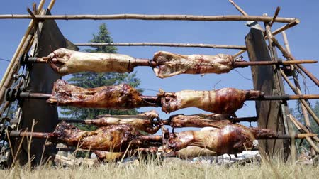 gourmet : Traditional Bulgarian roasting lamb barbecue. It is roasted meat over an open fire, cooked in a special way. Most often the barbecue is prepared of a ram, lamb, goat or sheep and processed by the slasher.