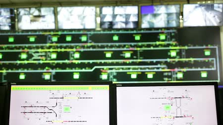 operational system : Control monitors for the subways of Sofia, Bulgaria. Traffic maps and video monitoring surveillance system.