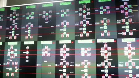 operational system : Control room for the subways of Sofia, Bulgaria. Traffic maps and video monitoring surveillance system.