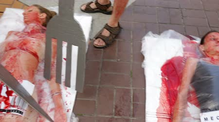 haklar : Sofia, Bulgaria - June 21, 2016: Vegans and vegetarians animal rights activists covered themselves in blood and wrapped themselves in meat packaging protesting against killing animals for meat or clothing. Panning Stok Video