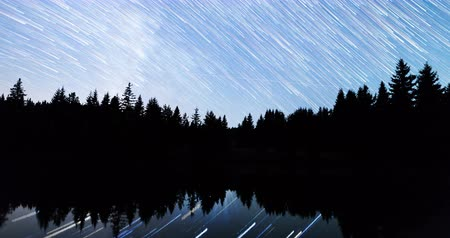 perseids : A view of the stars of the Milky Way with a silhouette of a pine trees forest near a lake in the mountain. Comet mode falling stars reflection in the water. Perseid Meteor Shower in 2016. 4k timelapse. Tilting Stock Footage