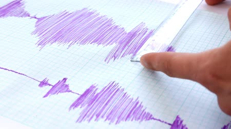 Seismological device for measuring earthquakes. Seismological activity lines on the sheet of measuring paper. Earthquake wave on graph paper. Human hand writing down with a blue pen.