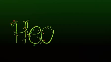 Animation of growing vine writing the word Healthy on dark green Background Wideo