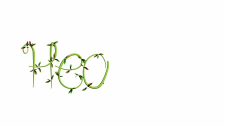 Animation of growing vine writing the word Healthy on white Background Wideo