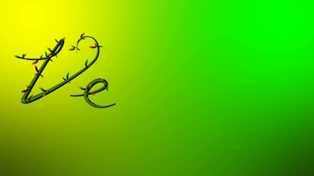 Animation of growing vine writing the word Vegan on lieght green Background