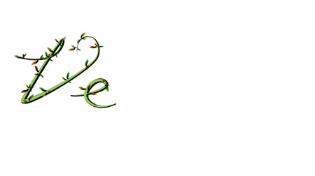 Animation of growing vine writing the word Vegan on white Background
