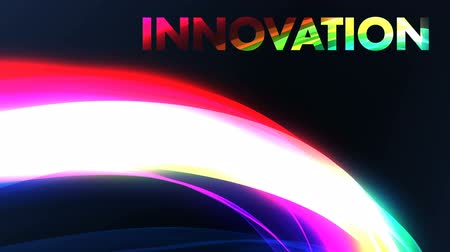 background animation of colorful rainbow with innovation title