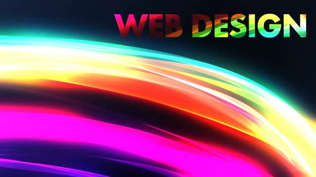 background animation of colorful rainbow with web design title Wideo