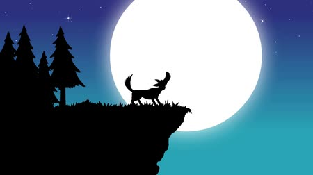 wilk : Wolf howling to moon - silhouette