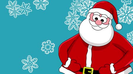 feliz natal : Funny laughing Santa Claus and different sort of snowflakes. Blue background