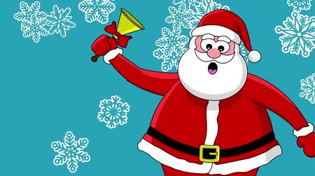 feliz natal : Funny Santa Claus with bell and different sort of snowflakes. Blue background