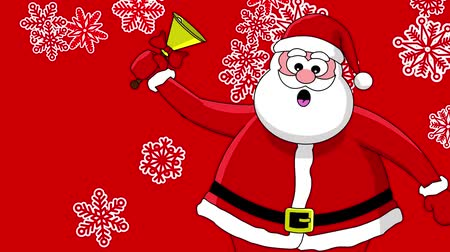 feliz natal : Funny Santa Claus with bell and different sort of snowflakes. Red background Vídeos