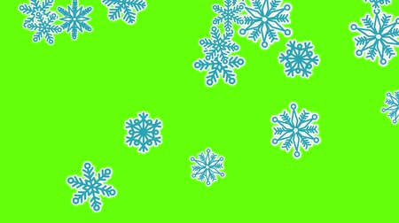 gevreği : Different sort of snowflakes, effect snowfall. Green screen Stok Video