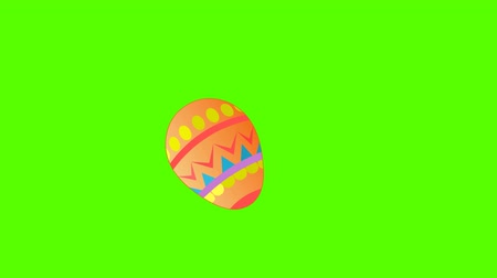 young bird : Easter eggs jumping and hitting. Green screen Stock Footage