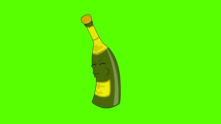 şişeler : Funny champagne bottle jumping and cork popping. Green screen