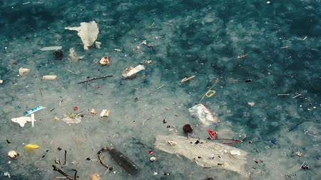 plastics : Sea Pollution Stock Footage