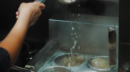 ramen : Cooking Ramen Noodles, Slow Motion Stock Footage