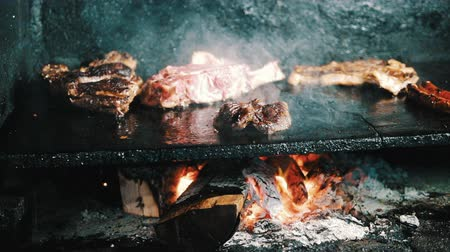 SLOW MOTION: Cooking steak and meat on wood fire grill. Barbecue grill with smoke in a French Restaurant Stok Video