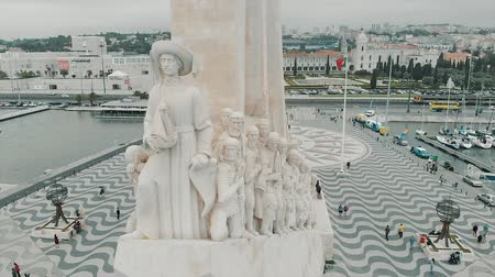 belem : Aerial view of The Monument to the Discoveries in Lisbon, Portugal with a drone