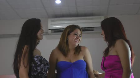 uç : Three female friends enjoying together at night Stok Video