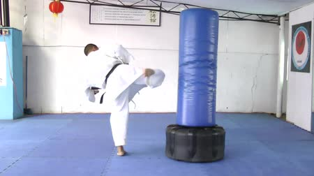 каратэ : Black belt karate practicing kicking the sandbag Стоковые видеозаписи