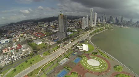 bola : Aerial footage of the tip of Panama City in Cinta Costera