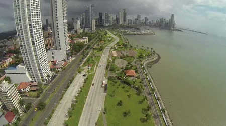 bola : Aerial view of morning traffic on Balboa avenue in Panama City skyscrapers skyline.
