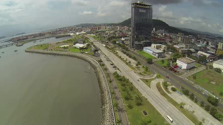 bola : PANAMA CITY - NOV 5: Aerial view of Panama City in the daytime in Panama on Nov 5, 2014. Is main commercial area in all the country and its located his high tourism visits named Cinta Costera.