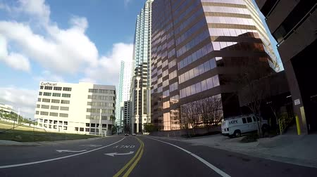 tampa bay : TAMPA, FL - FEB 3, 2017: Driving through all financial district in downtown Tampa, in Tampa, Florida in Feb 3, 2017. Stock Footage