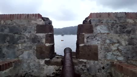 guards : COLON, PANAMA, APR 14: San Lorenzo fort Spanish ruins. Located on the Caribbean, San Lorenzo was built to protect the gold from spaniard pirates attacks on April 14, 2017 in Chagres River, Panama.