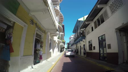 américa central : Panama - Oct 7 2018: POV of a street and buildings in Casco Viejo in Panama City Panama. Casco Viejo is the historic district of Panama City on Oct 7, 2018.