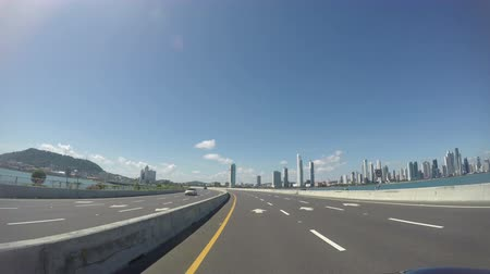Panama, Oct 7: Morning traffic on Balboa avenue in Panama City skyscrapers skyline in Panama, Oct 7, 2018.