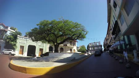 Panama - Oct 7, 2018: POV of a street and buildings in Casco Viejo in Panama City Panama. Casco Viejo is the historic district of Panama City on Oct 7, 2018.