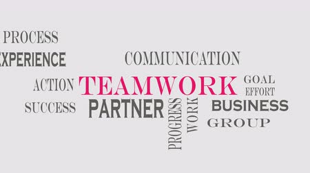 Teamwork word cloud concept on grey background. Archivo de Video