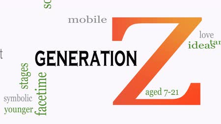 realista : Generation Z in word collage. Marketing and targeting concept