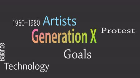 Generation X word cloud concept with great terms such as now Archivo de Video