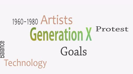 érettség : Generation X word cloud concept with great terms such as now Stock mozgókép