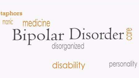 hallucinations : Bipolar disorder word cloud concept Stock Footage