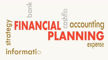 hiány : Financial planning, word cloud concept on white background. Illustration Stock mozgókép