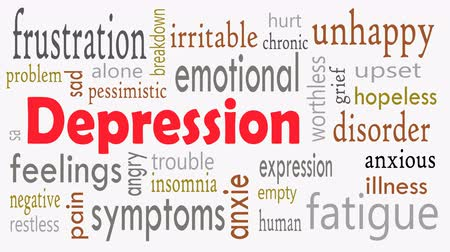 Depression word cloud concept with white background - Illustration Vídeos