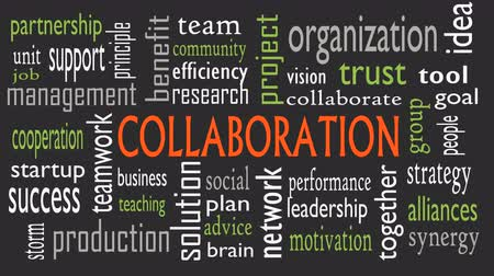 işbirliği yapmak : Collaboration concept in word cloud isolated on black background - Illustration
