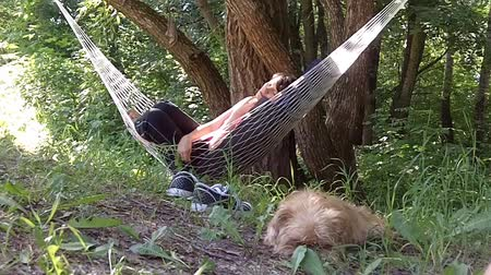 гамак : Woman relaxing in the hammock in a wood. Dog guards her dream.