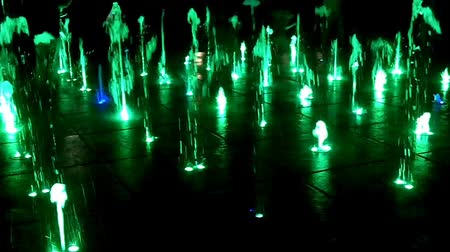 turkuaz : Show of musical fountain in Wroclaw, Poland Stok Video