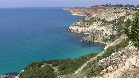 beach panorama :  Panorama of the sea coast near Cape Fiolent in Crimea, Ukraine Stock Footage