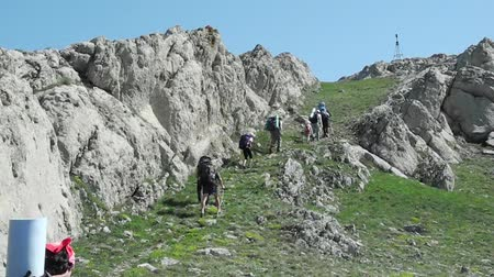 cena não urbana : Hikers group trekking in Crimea